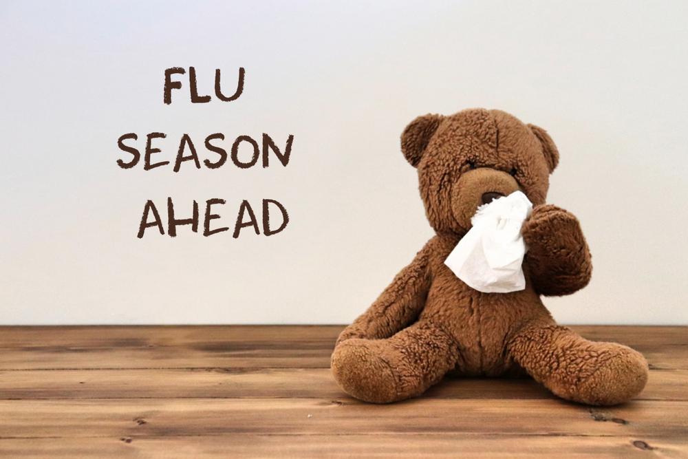 "teddy bear wiping nose with tissue. wall behind says ""flu season ahead"""